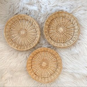 Boho Wicker Wall Decor Set of Three
